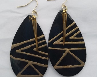 Black and gold hand painted earrings