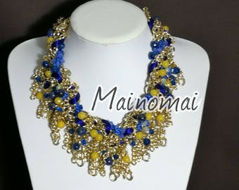 Braided necklace, with lapis, yellow agate, crystals and Swarovski