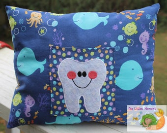 Blue Sealife Tooth Fairy Pillow // Kids Tooth Pillow // Tooth Fairy // Whale Pillow