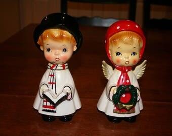 Vintage Christmas Carolers, 1960's Japan Ceramic Boy and Girl Carolers, Christmas Caroler Figurines, Christmas Decor, Mid Century