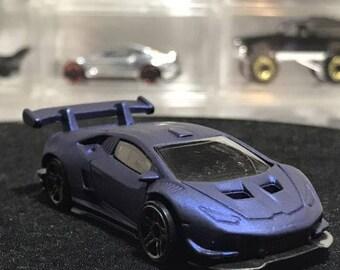 Custom Satin Hot Wheels Lamborghini Huracan Lp 620-2 Flat Royal Blue