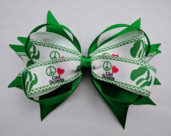"""Girl scout 6"""" Bow, green hair bow, stacked hair bow, white hair bow, hair clip, green bow, hair accessories - gift for daughter- large bow"""