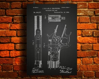 Browning Winchester Model 1886 Lever Action Rifle Patent Print Invented by Browning in 1884 - Fire Arm Decor - Gun Collector - NRA Decor Art