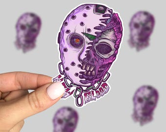 New Blood Sticker, Friday 13th Laptop Sticker, Horror Car Sticker, Monster Sticker, Retro Sticker, Friday the 13th