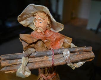 Vintage Antique Paper Mache Figure Wood-Gatherer ( Japanese? )