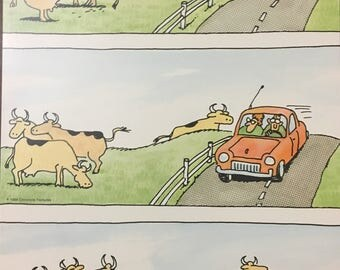 """The Far Side by Gary Larson """"Car!"""" 9.5"""" x 13"""" poster"""