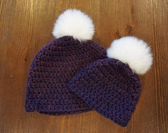 Mommy & Me beanie - Eggplant - Adult and 3-6 month
