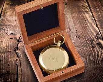 Personalized Keepsake Compass with Wooden Box - Personalized Compass - Gold Compass - Silver Compass - Gunmetal Compass - Groomsmen Gifts