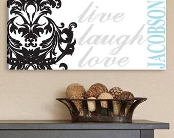 Personalized Live, Laugh, Love Filigree Canvas Print - Live, Laugh, Love Wall Prints - Live, Laugh Love Wall Decor - Personalized Wall Print