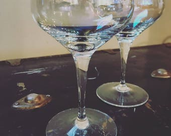 2-Vintage iridescent coupe glasses