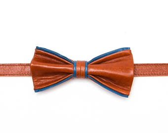 Ginger Blue Leather Bow Tie