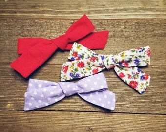 May Flowers | Handmade Cotton Baby Hair Bow Set of 3