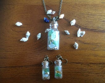 Genuine French sea glass bottle gift set (necklace and earrings)