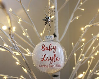 Baby Announcement Ornament, Pregnancy Ornament, Personalized Baby Reveal, We're Expecting Ornament, Baby Ornament, Custom Christmas Ornament