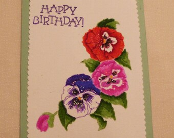 Handmade Greeting Card,  5x7 Birthday Greeting Cards, Hand Painted, Pansies  Greeting Card, Friend Greeting Card, Made in the USA, #53
