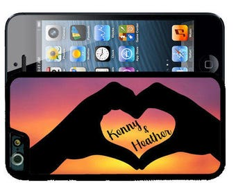 Personalized Rubber Case For iPhone X, 8, 8 plus, 7, 7 plus, 6s, 6s plus, 5, 5s, 5c, SE -  Love Hand Heart Sunset