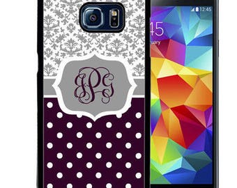 Monogrammed Rubber Case For Samsung Note 3, Note 4, Note 5, or Note 8- Gray Damask Plum Polka Dots