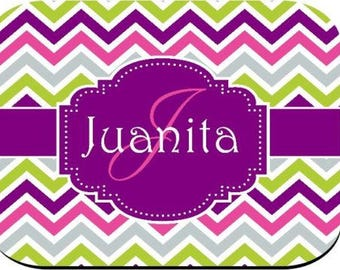 Personalized Mouse Pad - Pink Purple White Chevron