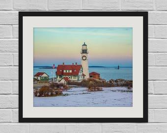 Christmas at Portland Head Light - Maine Lighthouse Photo and Canvas Print