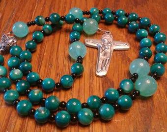 Catholic Rosary, Natural River Shell Bead Rosary, Blue Semi-Precious, Gemstone, 5 Decade Rosary, Heirloom Quality, Flex Wire