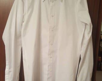 1940 style men's white cotton shirt