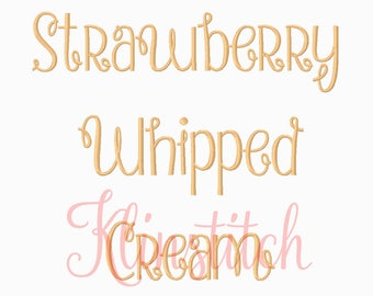 50% Sale!! Strawberry Whipped Cream Font Embroidery Fonts 3 Sizes Fonts BX Fonts Embroidery Designs PES Fonts Alphabets - Instant Download