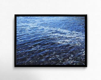 Water, Blue, Waves, Denmark, vacations, beach, stone, underwater, interior, digital download, Picture, Print, design, shiny, glow