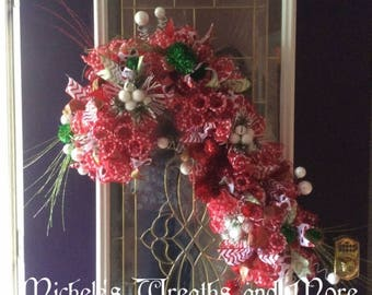 Red and white deco mesh candy cane