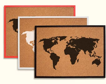 World map pin board etsy natural cork board world map 21x29 inches gumiabroncs Image collections