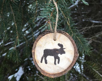 Christmas ornament, Moose wood slice ornament, set of 3 or 6, woodland ornament, xmas tree ornament, rustic moose ornament