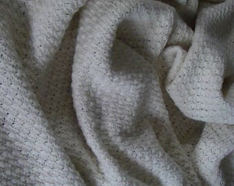 100% Merino Hand knitted Blanket in soft and luxurious thick ply. Natural Cream .