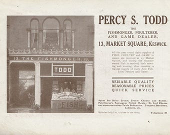 Original 1912 Keswick Advert - double sided - Fishmonger, Percy Todd, Grisdales, Pencil Shop