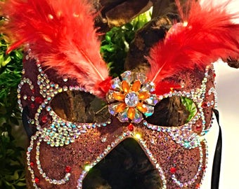 Fracas, fairy mask, orange mask, glittered mask, festival mask, cosplay, halloween, party mask, jeweled mask, Mardi Gras, masquerade