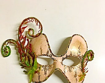 The Ancient, fairy mask, festival mask, floral mask, flower mask, hand made mask, fern mask, Masquerade mask, fiddle head fern, gala mask