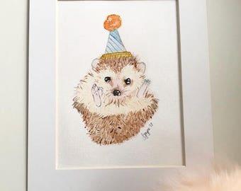 Party Time Hedgehog Original watercolour A4