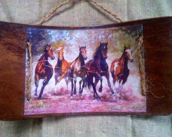 "Painting ""Running horses"" decoupage on the back of a chair in 1960"