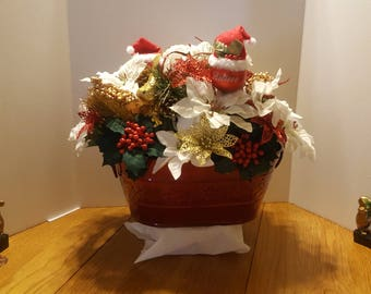 Christmas Floral Centerpiece in Red Metal Basin