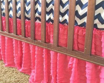 Hot Pink Crib Skirt - Ruffle Crib Skirt- Pink Crib Skirt - Baby Bed Skirt- Long Crib Skirt - Ruffled Crib Skirt Baby Nursery Baby Room Decor