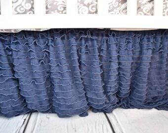 Navy Blue Crib Skirt - Ruffle Crib Skirt - Crib Skirt - Baby Bed Skirt- Long Crib Skirt - Ruffled Crib Skirt Baby Nursery Baby Room Decor