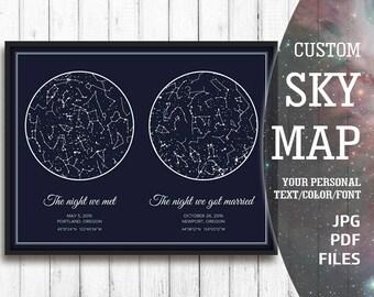 Custom Constellation Map, Custom Sky Print, Custom Star Print, Custom Night Sky Print, Custom Night Sky Map, Star Map Art, Sky Map Printable