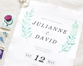 Watercolour Laurels Wedding Invitation - Greenery Wedding Invitation - Rustic Wedding Invitation
