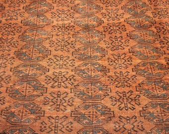 39~ Chuwwal Gul Design, Central Asian Old Rug, 293 centimeters long and 214 centimeters width, Rug has little piles, antique rug