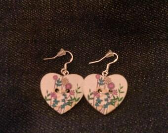 Heart shaped floral print earrings