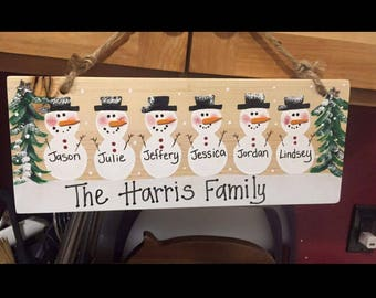 Personalized snowmen plaque family sign