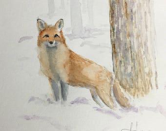 Fox in Snow Original Watercolor