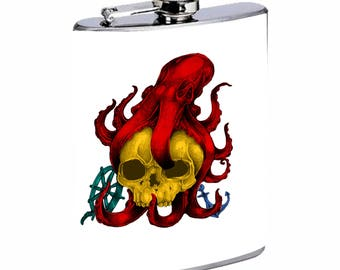 Sooku Design Stainless Steel Flask 8oz with Beautiful T-shirt Design Octopus Skull