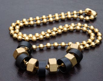 Metal Hex Nut Necklace on Bold Chain combine with Anodized Aluminum elements