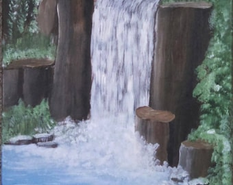 Waterfall pond landscape