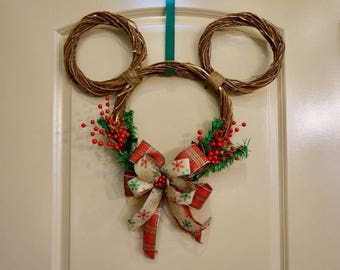 Grapevine Mickey Christmas Wreath