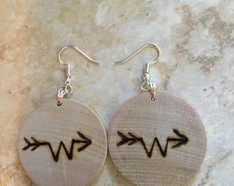 Custom wood burned brand earrings